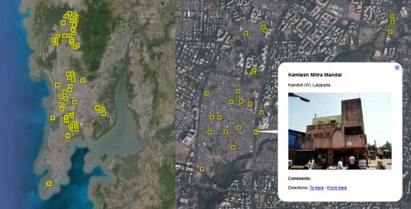 Mapping toilets Mumbai Google Earth