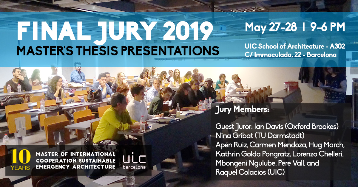 Final Jury 2019 | Master Thesis Presentations – Master Of International  Cooperation Sustainable Emergency Architecture